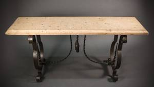 Neoclassical Style Iron Console w Pink Rock Top