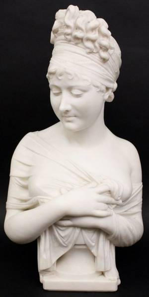 Carved White Marble Female Bust After Chinard