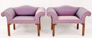 Pair of Purple Upholstered Benches