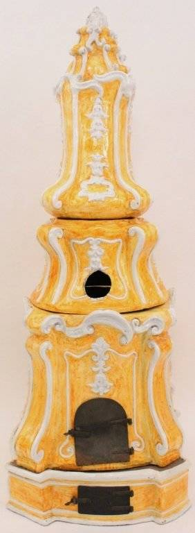 Yellow  White Glazed Ceramic Kachelofen