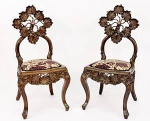 Pair of Art Nouveau style Side Chairs