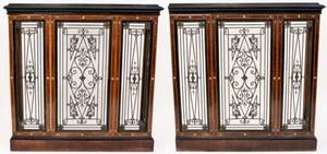 Pair of Inlaid Wood  Iron Heater Covers