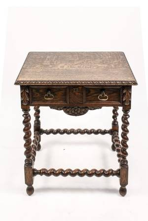 English 19th C Oak Barley Twist Side Table