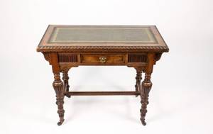 English 19th C Oak Flip Top Game Table