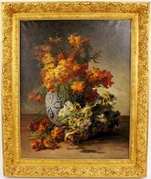 Edmond Van Coppenolle Floral Still Life Oil