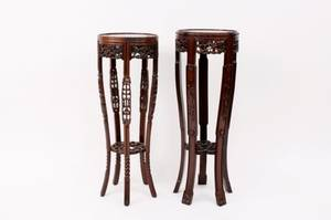 Pair of Chinese Carved Hardwood Plant Stands