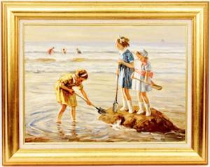 Anton Karssen Oil on Canvas Children at Beach