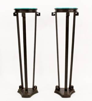 Pair of Tall Iron Floor Pedestals