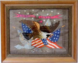 Chinese Export Patriotic Silk Embroidery Textile