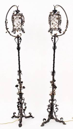 Pair of Floral Decorated Iron Torchieres