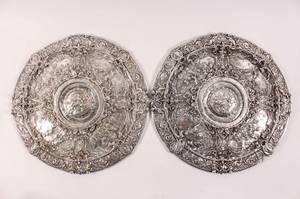 Pair of Large Sterling Figural Repousse Medallions
