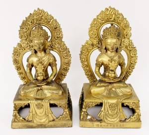 Pair of Gilt Bronze Oriental Guanyin Sculptures