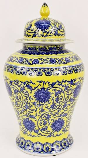 Blue Yellow  White Chinese Porcelain Lidded Urn