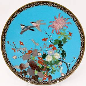 Chinese Cloisonne Bird Charger