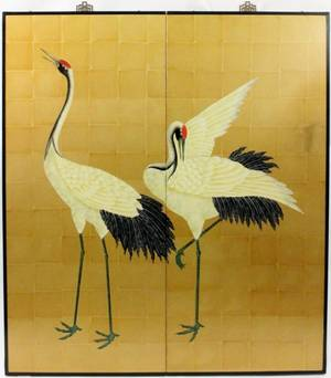 Chinese Hand Painted Crane Screen