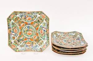 Six Chinese Rose Medallion Square Plates