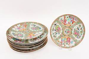 Group of 11 Chinese Rose Medallion Plates