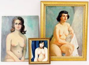 Three Female Nude Oils