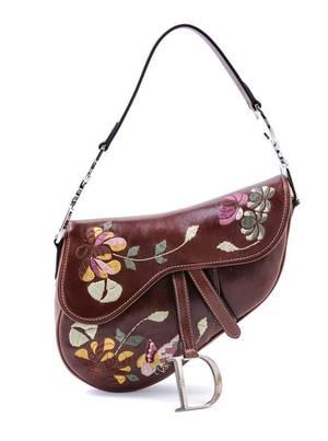 A Christian Dior Brown Leather Saddle Handbag