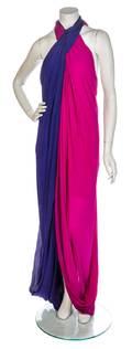 A Purple and Magenta Halter Gown