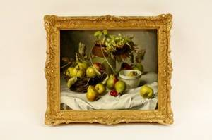 Gerald Cooper Still Life w Apples  Pears Oil