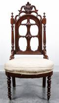 A Gothic Revival Walnut Side Chair