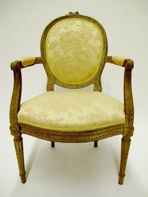 Louis XVI Style Wood Framed Armchair