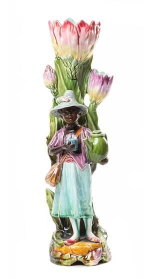 A Majolica Figural Spill Vase