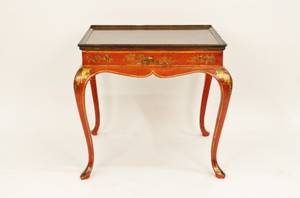 19th C Red Lacquered Chinoiserie Decorated Table