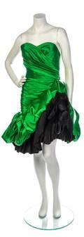 An Emanuel Ungaro Green Strapless Cocktail Dress