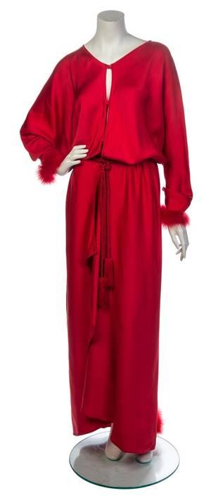 A Lanvin Red Silk Evening Gown