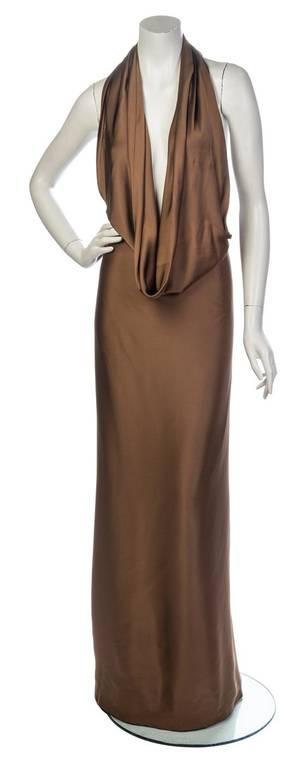 A Cocoa Silk Halter Wrap Gown