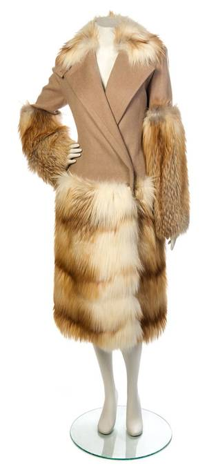 A Paco Rabanne Tan Wool Coat with Fur Trim