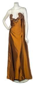 A Sarli Bronze Strapless Evening Gown