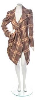 A Vivienne Westwood Brown and Red Plaid Coat
