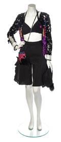 A Sonia Rykiel Black Sequin Culotte Ensemble