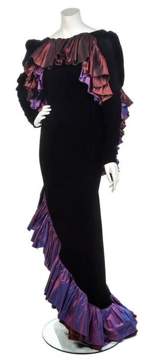 An Yves Saint Laurent Black Velvet and Taffeta Gown