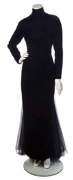A Bernard Perris Black Velvet Evening Gown