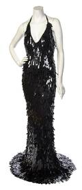 A Ben de Lisi Black Spangle Halter Evening Gown