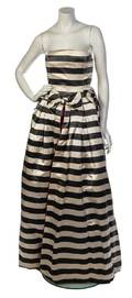 A Barocco Grey and Cream Striped Evening Gown