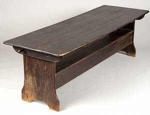 186 CHIPPENDALE STYLE PAINTED PINE TABLE BENCH