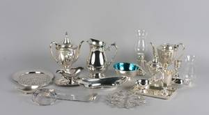 A Group of Silverplate and Metal Table Articles