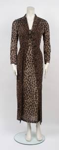 Dolce  Gabbana Silk Leopard Print Dress and Coat Ensemble