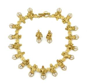 A Ladys 18 Karat Yellow Gold and Diamond Necklace and Earring Set Barry KieselsteinCord