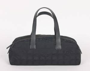 Chanel Black Canvas Logo Bag