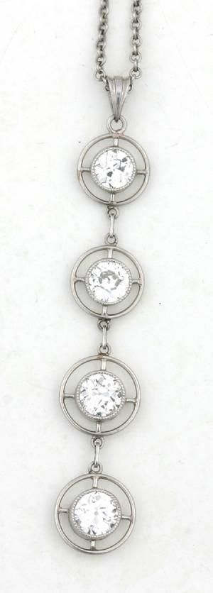 A Ladys Platinum and Diamond Pendant