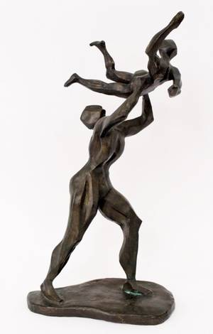 Cubist Style Bronze FIgural Sculpture of Dancers