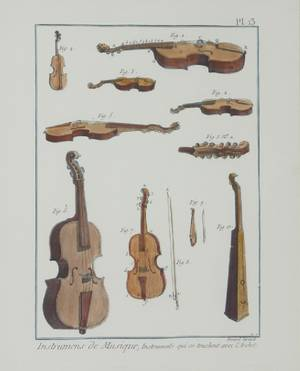 Four Framed Prints of Musical Instruments