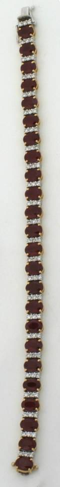 A Ladys 18 Karat Yellow and White Gold Ruby and Diamond Bracelet