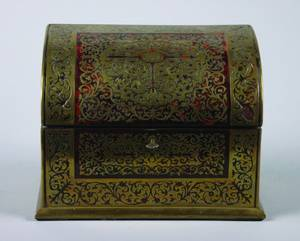 A Late Victorian or Edwardian Boullework Stationery Box